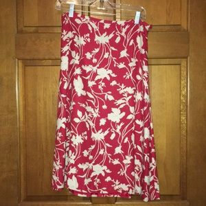 Red and cream long skirt